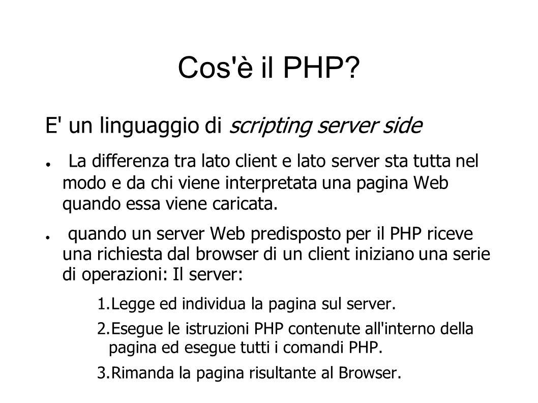 Cos'è il PHP? E' un linguaggio di scripting server side La differenza tra lato client e lato server sta tutta nel modo e da chi viene interpretata una