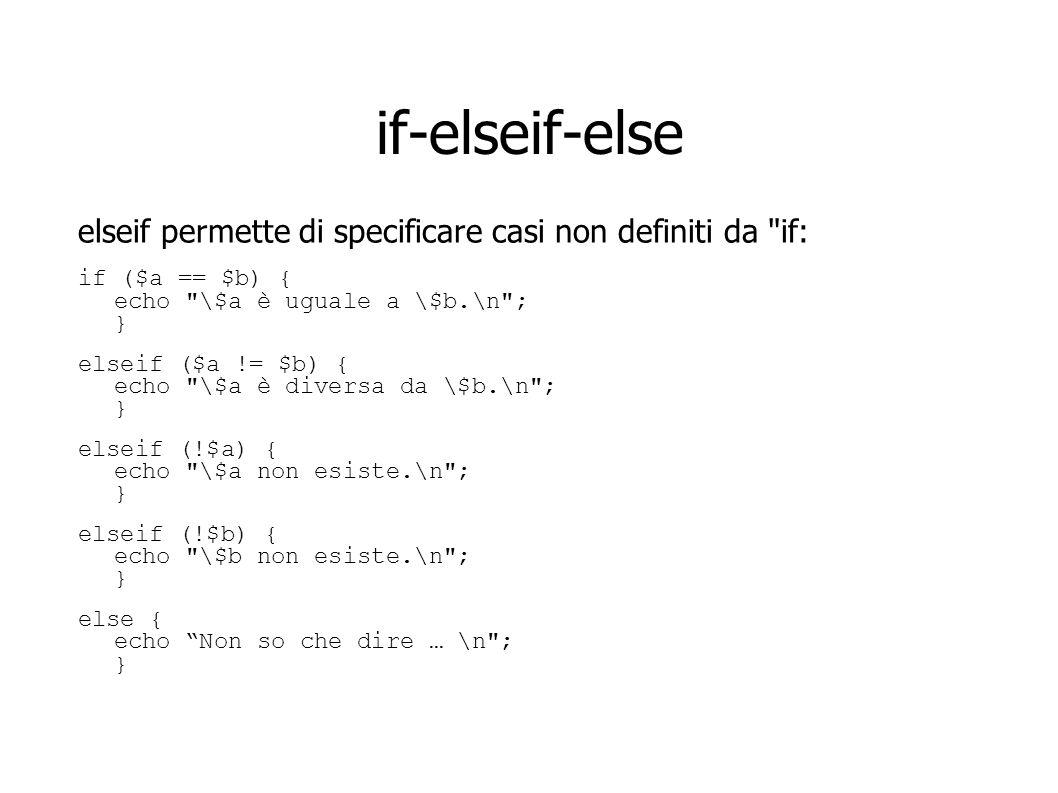 if-elseif-else elseif permette di specificare casi non definiti da