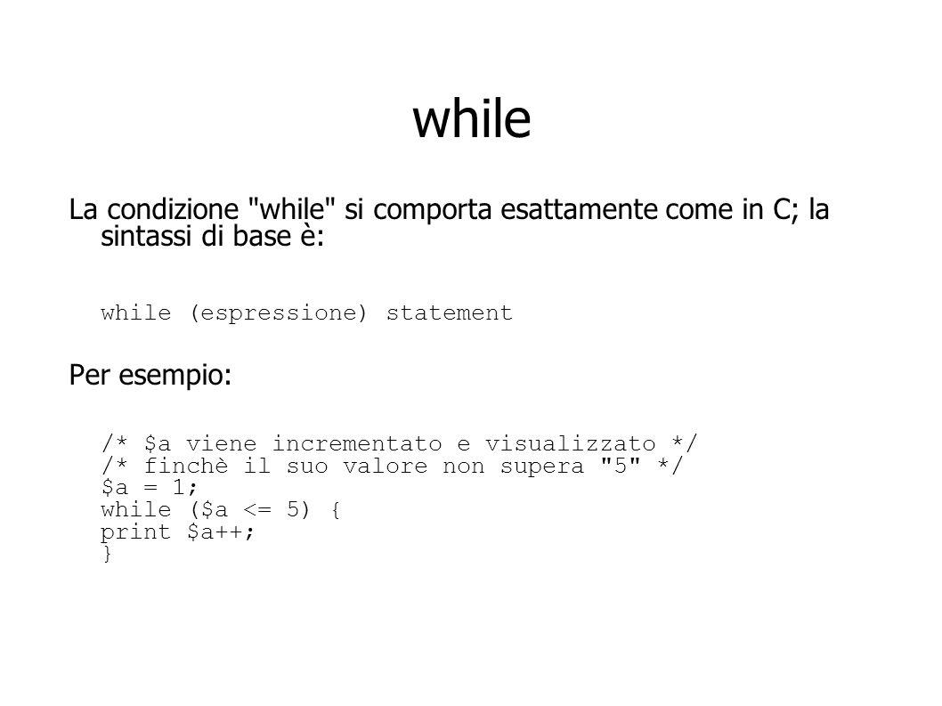 while La condizione