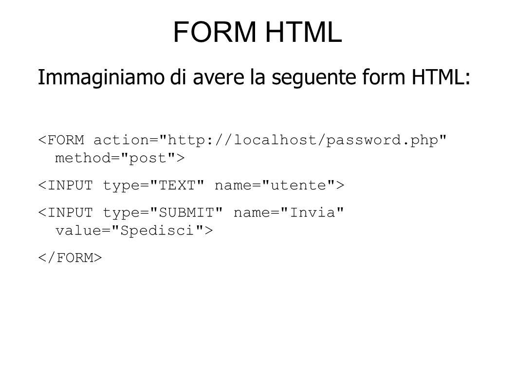 FORM HTML Immaginiamo di avere la seguente form HTML: