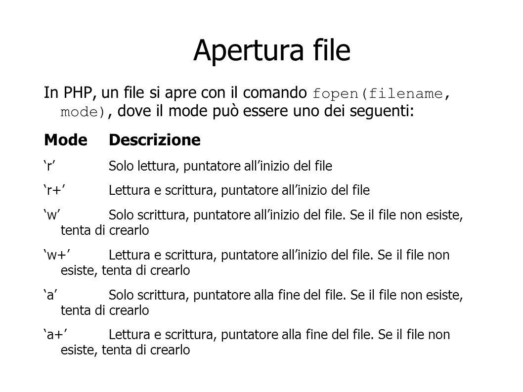 Apertura file In PHP, un file si apre con il comando fopen(filename, mode), dove il mode può essere uno dei seguenti: Mode Descrizione rSolo lettura,