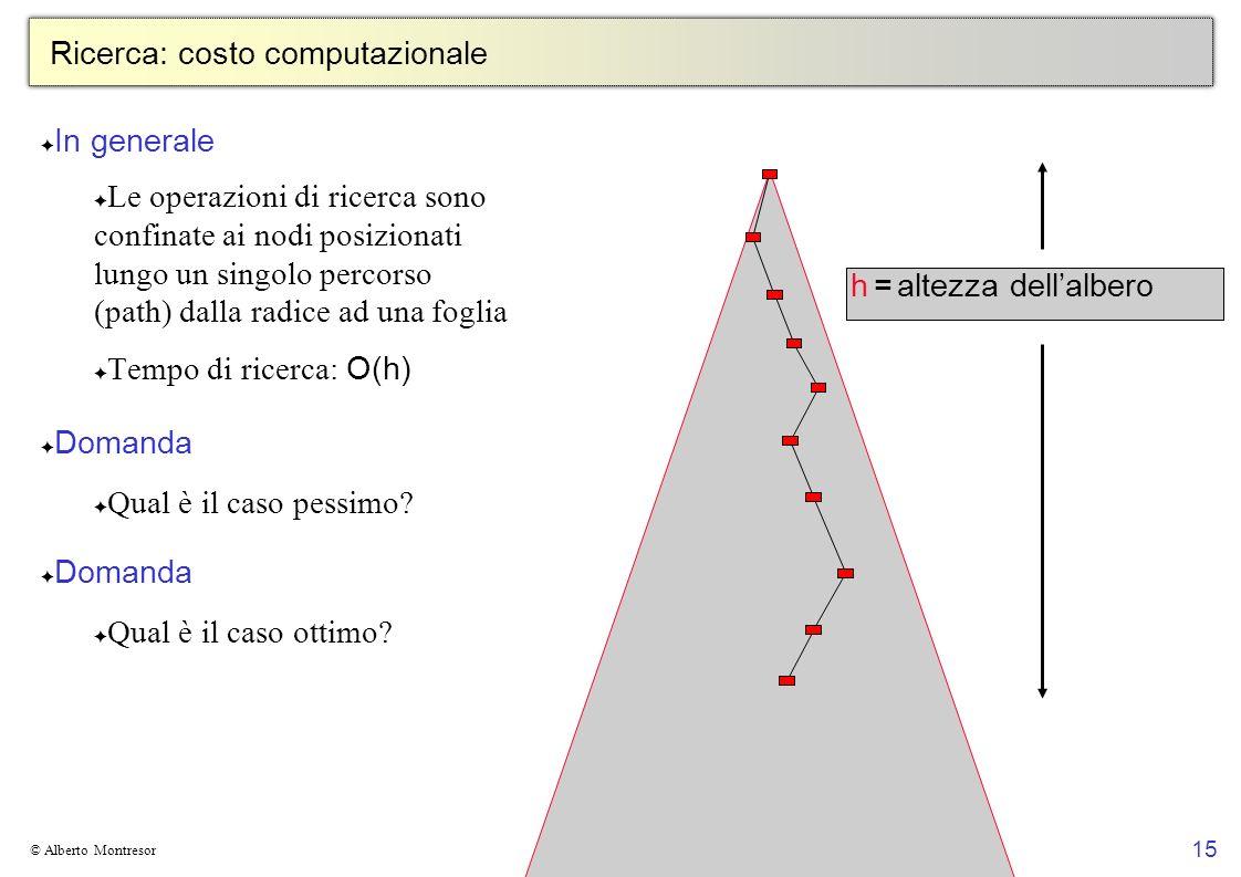 15 © Alberto Montresor Ricerca: costo computazionale In generale Le operazioni di ricerca sono confinate ai nodi posizionati lungo un singolo percorso