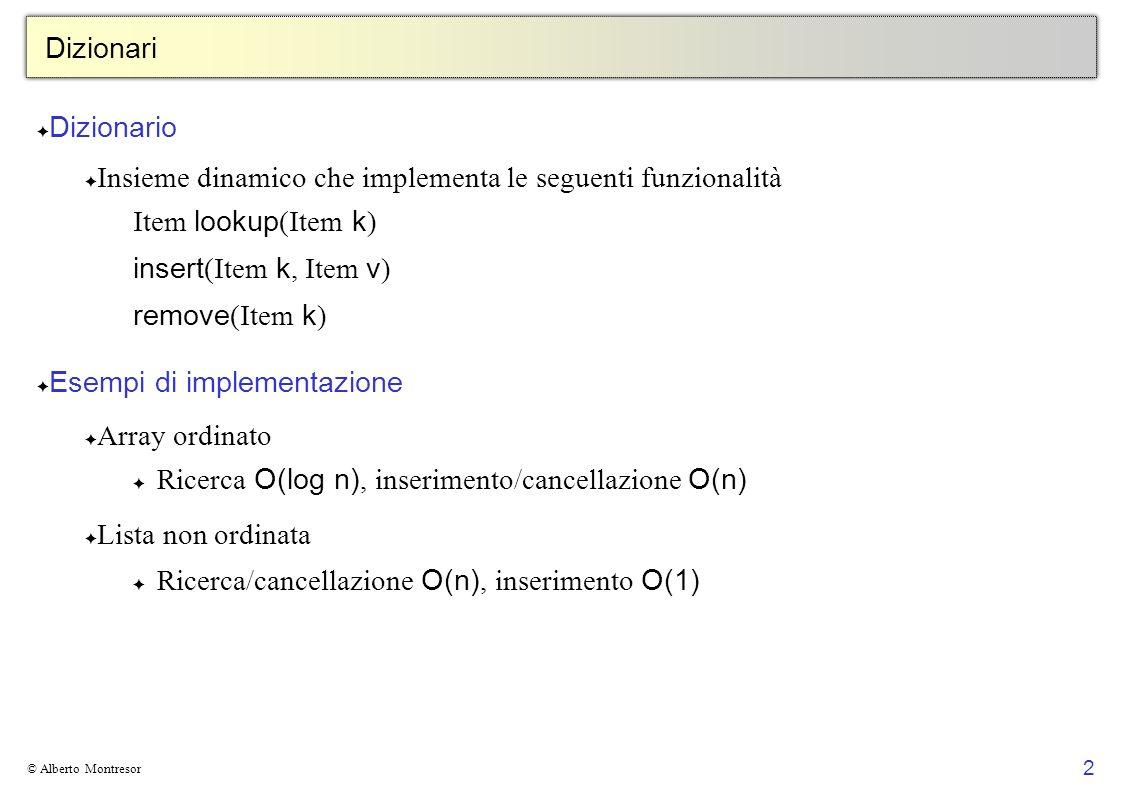 2 © Alberto Montresor Dizionari Dizionario Insieme dinamico che implementa le seguenti funzionalità Item lookup (Item k ) insert (Item k, Item v ) rem