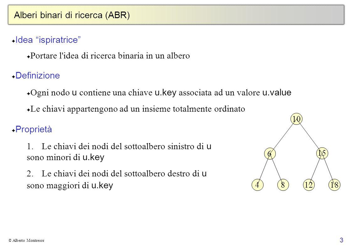 3 © Alberto Montresor Alberi binari di ricerca (ABR) Idea ispiratrice Portare l'idea di ricerca binaria in un albero Definizione Ogni nodo u contiene