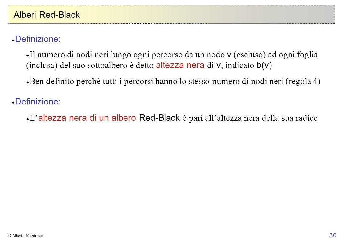 30 © Alberto Montresor Alberi Red-Black Definizione: Il numero di nodi neri lungo ogni percorso da un nodo v (escluso) ad ogni foglia (inclusa) del su