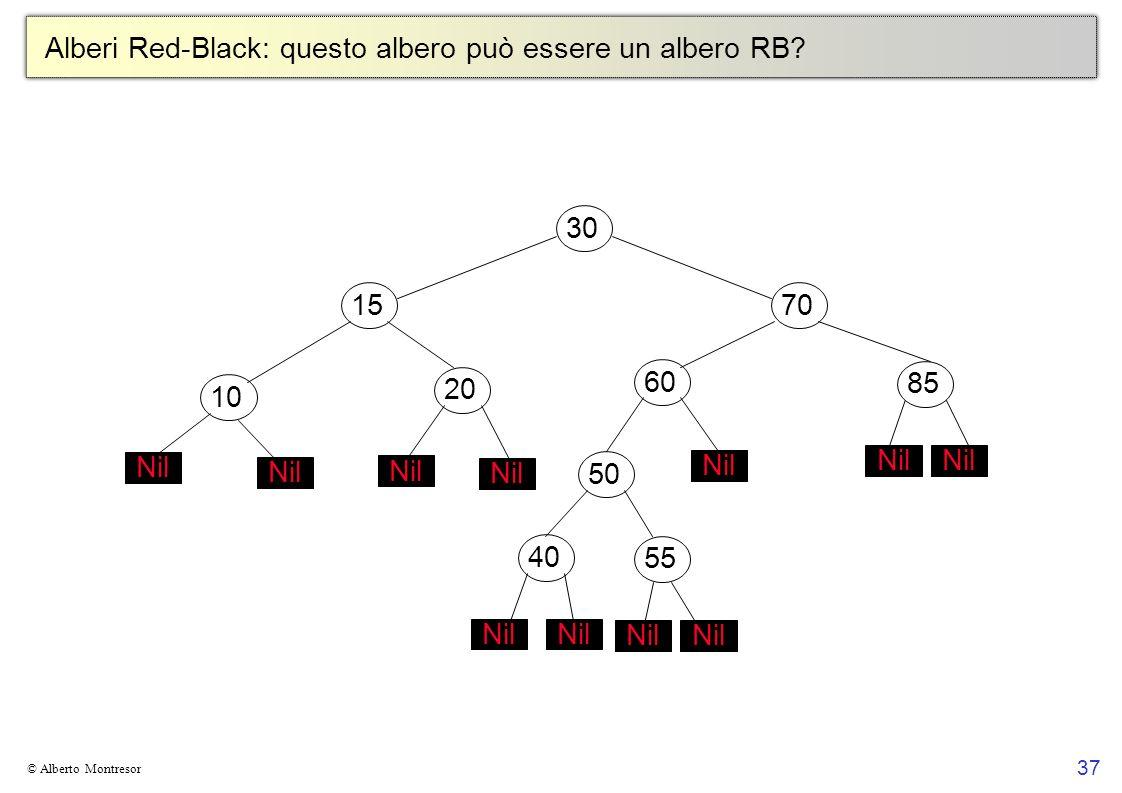 37 © Alberto Montresor Alberi Red-Black: questo albero può essere un albero RB? 30706010152050 Nil 4055 Nil 85 Nil