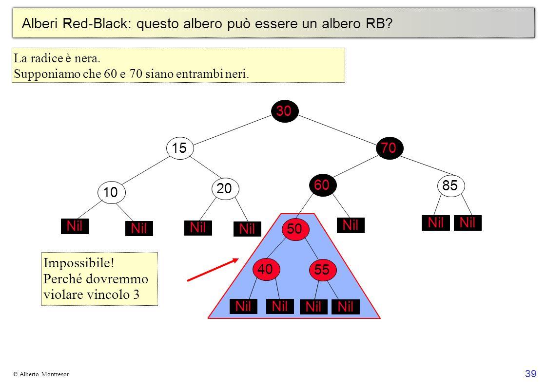 39 © Alberto Montresor Alberi Red-Black: questo albero può essere un albero RB? 30706010152050 Nil 4055 Nil 85 Nil Impossibile! Perché dovremmo violar