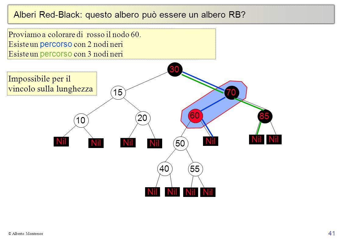 41 © Alberto Montresor Alberi Red-Black: questo albero può essere un albero RB? 30706010152050 Nil 4055 Nil 85 Nil Impossibile per il vincolo sulla lu