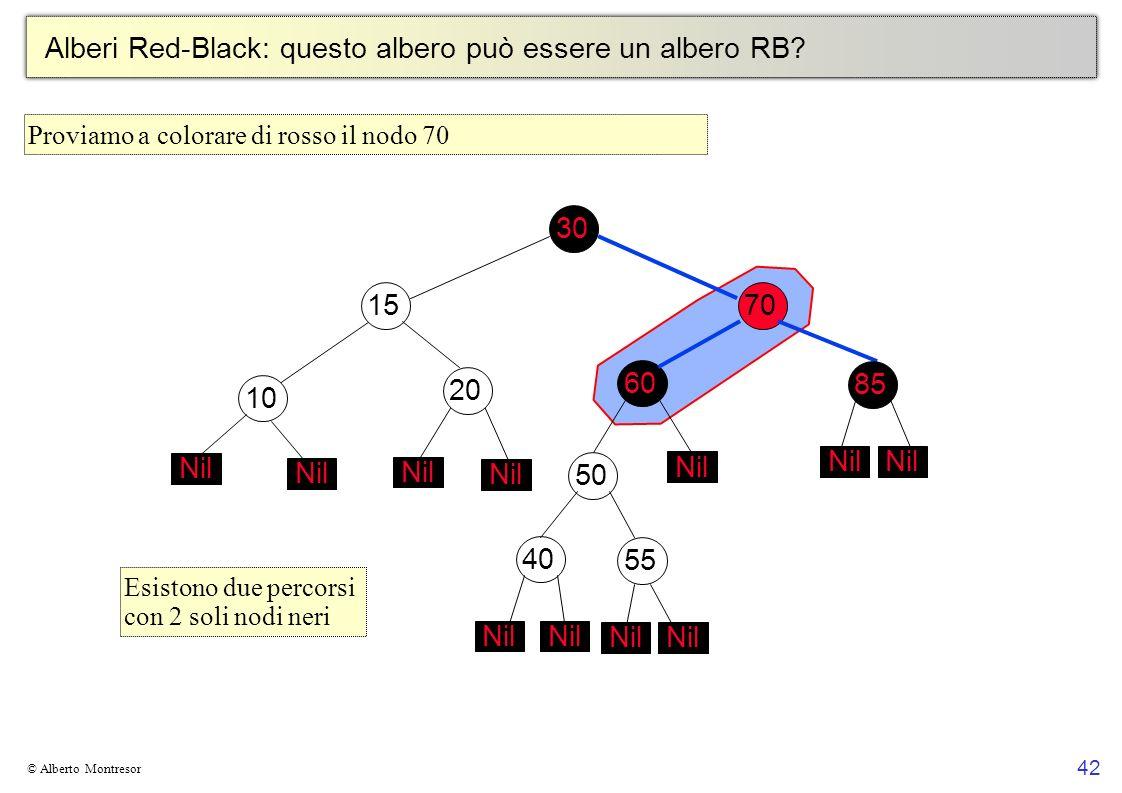 42 © Alberto Montresor Alberi Red-Black: questo albero può essere un albero RB? 30706010152050 Nil 4055 Nil 85 Nil Esistono due percorsi con 2 soli no