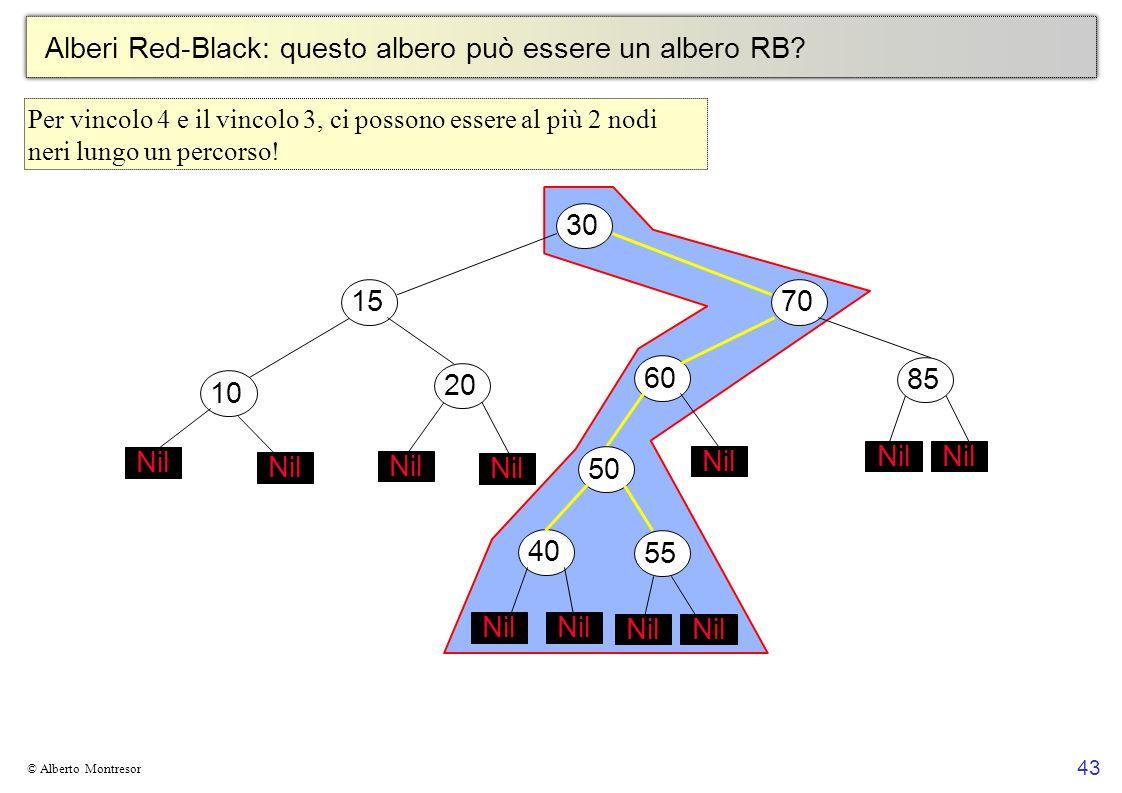 43 © Alberto Montresor Alberi Red-Black: questo albero può essere un albero RB? 30706010152050 Nil 4055 Nil 85 Nil Per vincolo 4 e il vincolo 3, ci po