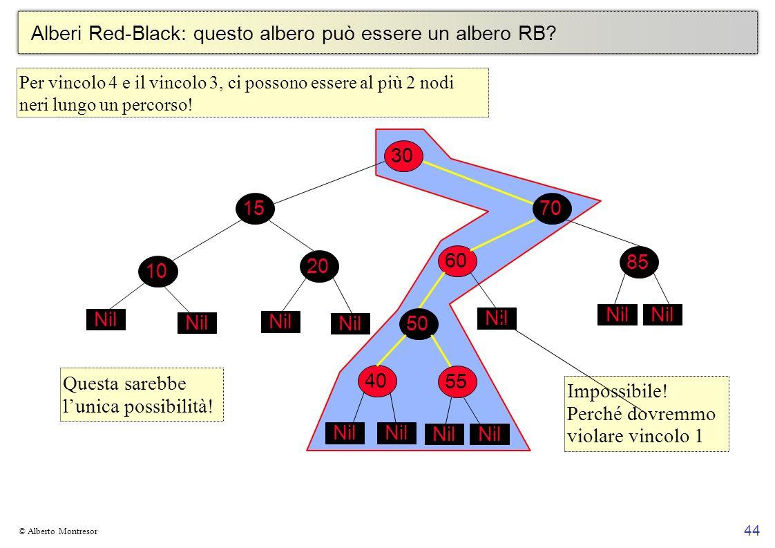 44 © Alberto Montresor Alberi Red-Black: questo albero può essere un albero RB? 30 70 6010 15 2050 Nil 4055 Nil 85 Nil Questa sarebbe lunica possibili