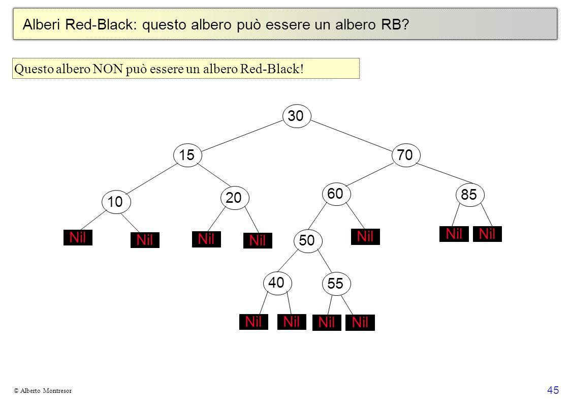 45 © Alberto Montresor Alberi Red-Black: questo albero può essere un albero RB? 30706010152050 Nil 4055 Nil 85 Nil Questo albero NON può essere un alb