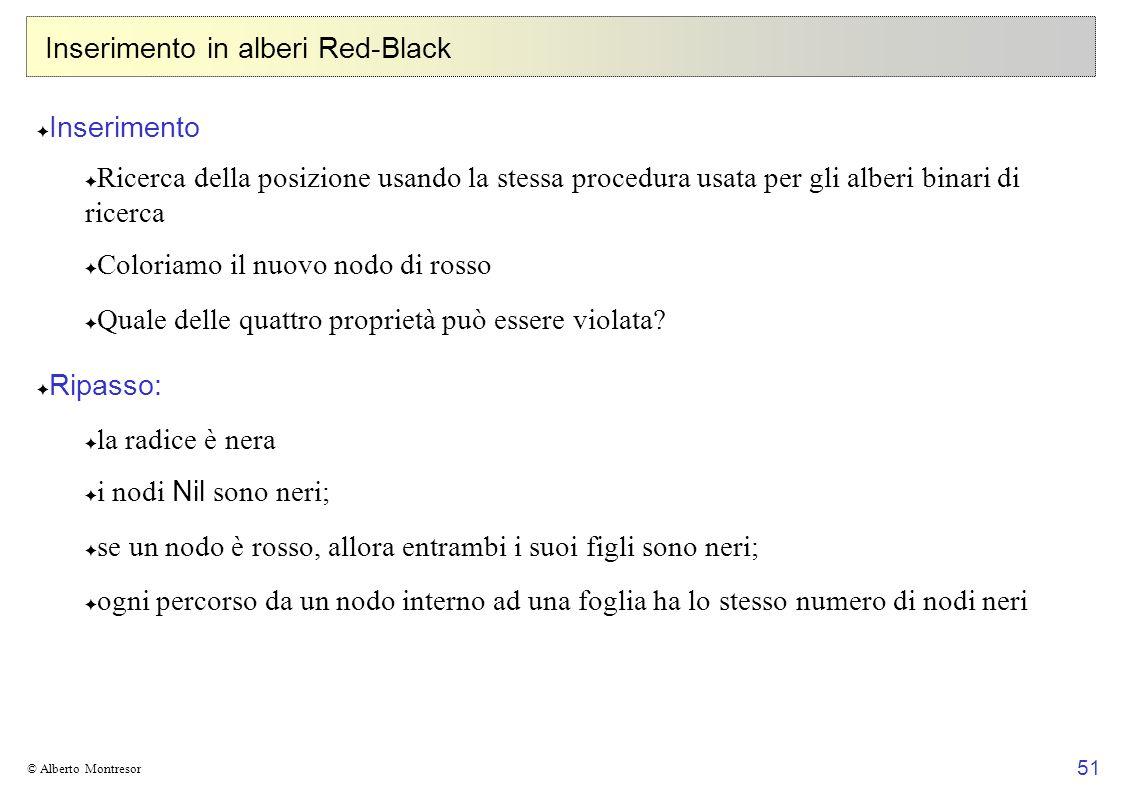 51 © Alberto Montresor Inserimento in alberi Red-Black Inserimento Ricerca della posizione usando la stessa procedura usata per gli alberi binari di r