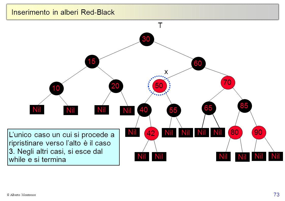 73 © Alberto Montresor Inserimento in alberi Red-Black 30708560801090152050405565 Nil T 42 x Nil Lunico caso un cui si procede a ripristinare verso la