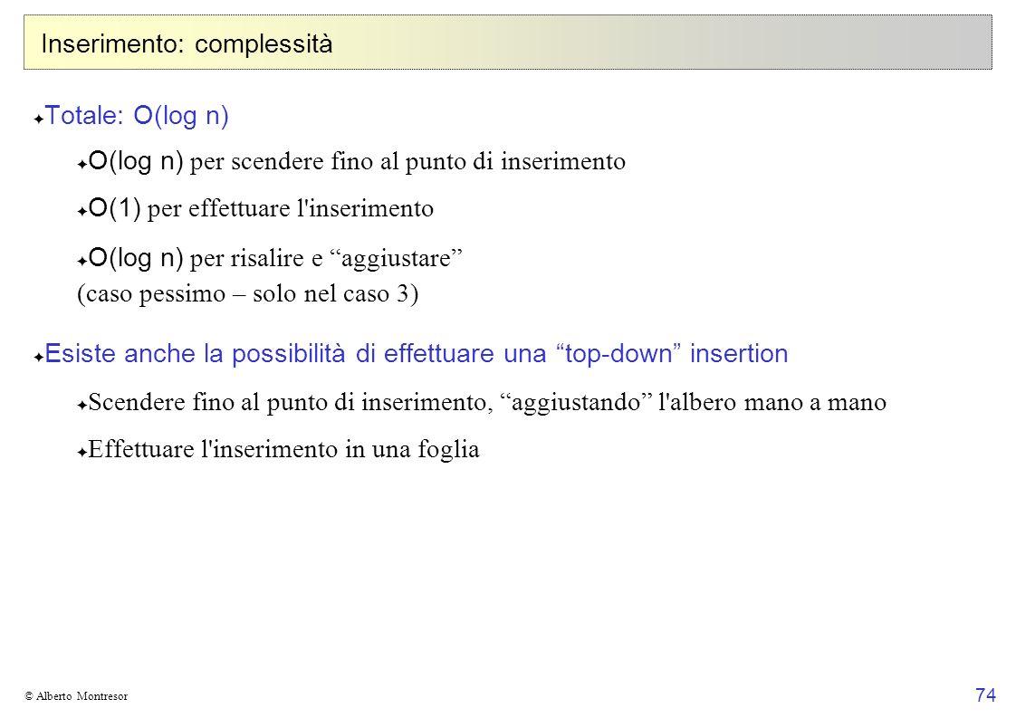 74 © Alberto Montresor Inserimento: complessità Totale: O(log n) O(log n) per scendere fino al punto di inserimento O(1) per effettuare l'inserimento