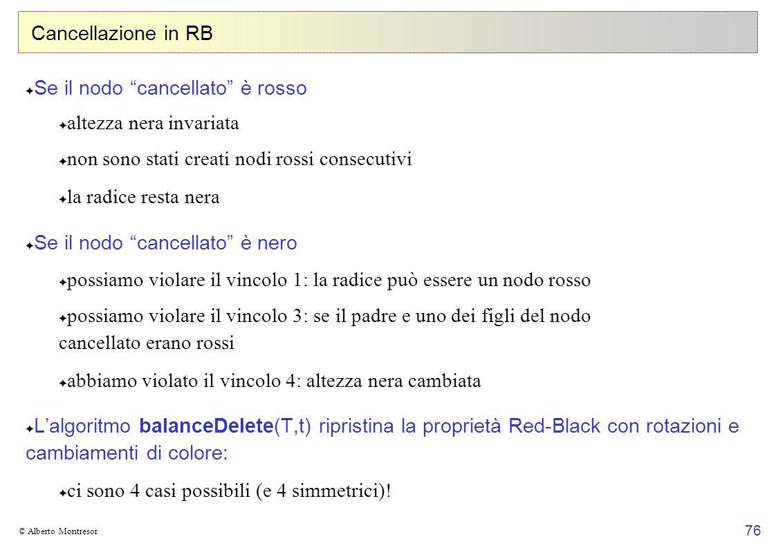 76 © Alberto Montresor Cancellazione in RB Se il nodo cancellato è rosso altezza nera invariata non sono stati creati nodi rossi consecutivi la radice