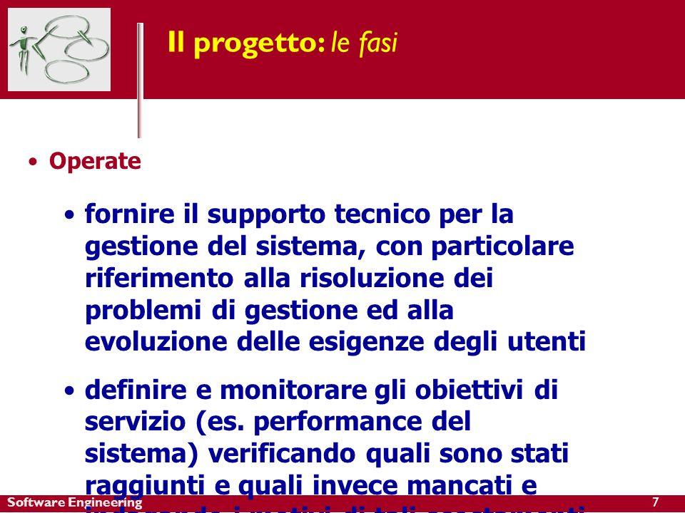 Software Engineering Il progetto: le fasi Operate fornire il supporto tecnico per la gestione del sistema, con particolare riferimento alla risoluzion