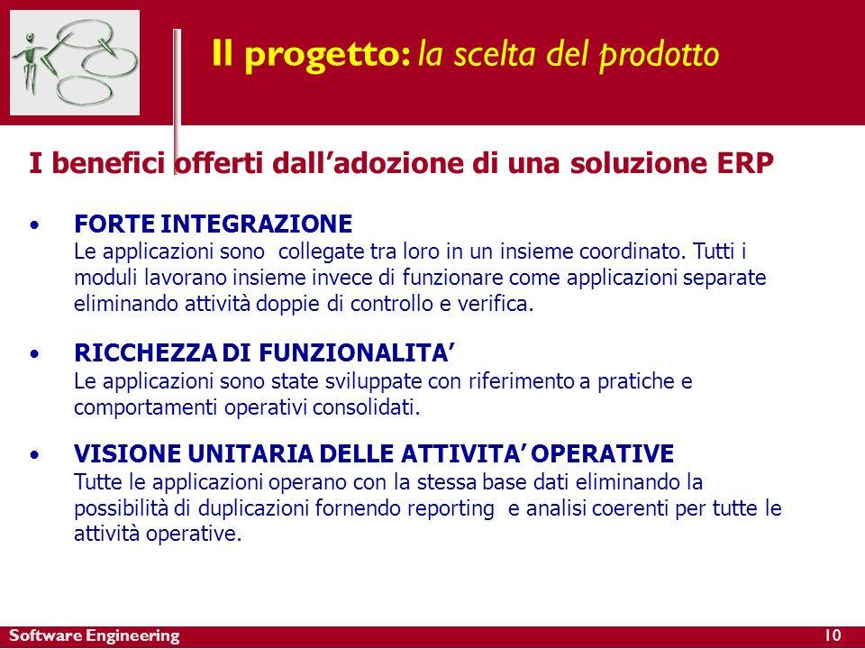 Software Engineering Il progetto: la scelta del prodotto I benefici offerti dalladozione di una soluzione ERP FORTE INTEGRAZIONE Le applicazioni sono collegate tra loro in un insieme coordinato.