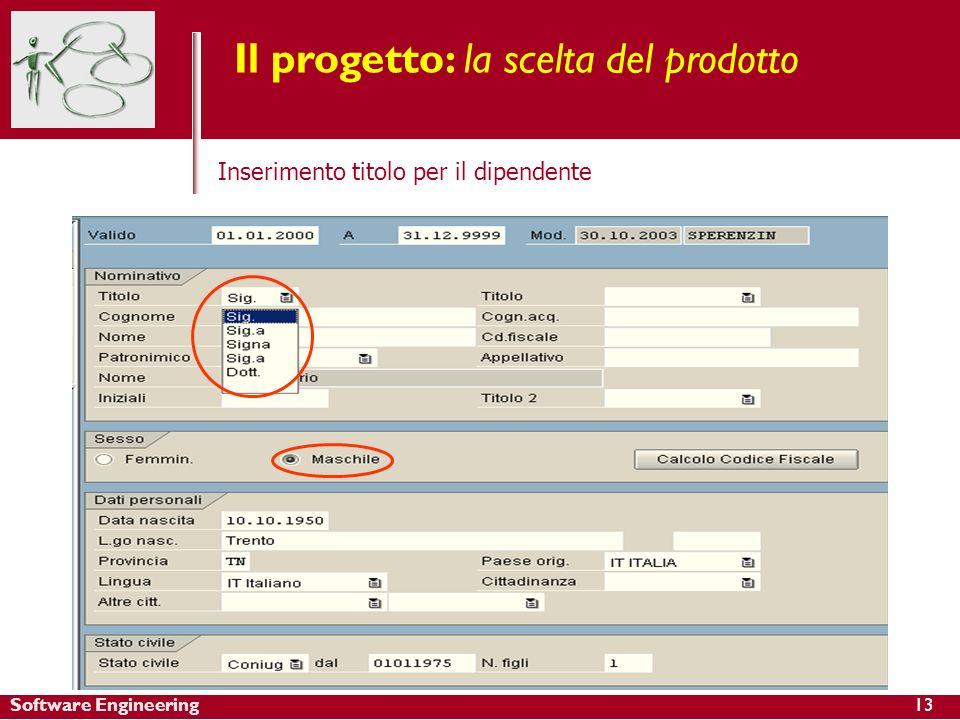 Software Engineering13 Il progetto: la scelta del prodotto Inserimento titolo per il dipendente