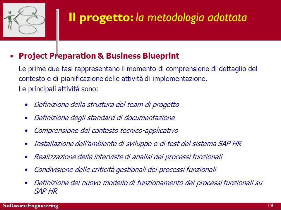 Software Engineering Project Preparation & Business Blueprint Le prime due fasi rappresentano il momento di comprensione di dettaglio del contesto e di pianificazione delle attività di implementazione.