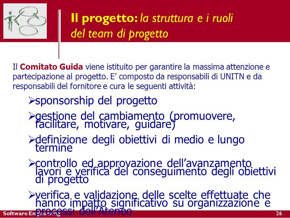 Software Engineering Il progetto: la struttura e i ruoli del team di progetto Il Comitato Guida viene istituito per garantire la massima attenzione e