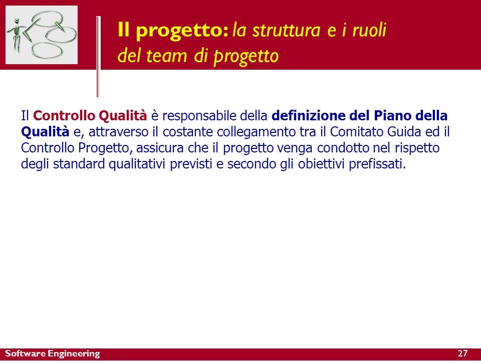 Software Engineering Il progetto: la struttura e i ruoli del team di progetto Il Controllo Qualità è responsabile della definizione del Piano della Qu