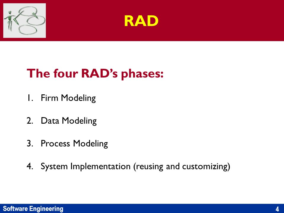 Software Engineering 4 The four RADs phases: 1.Firm Modeling 2.Data Modeling 3.Process Modeling 4.System Implementation (reusing and customizing) RAD