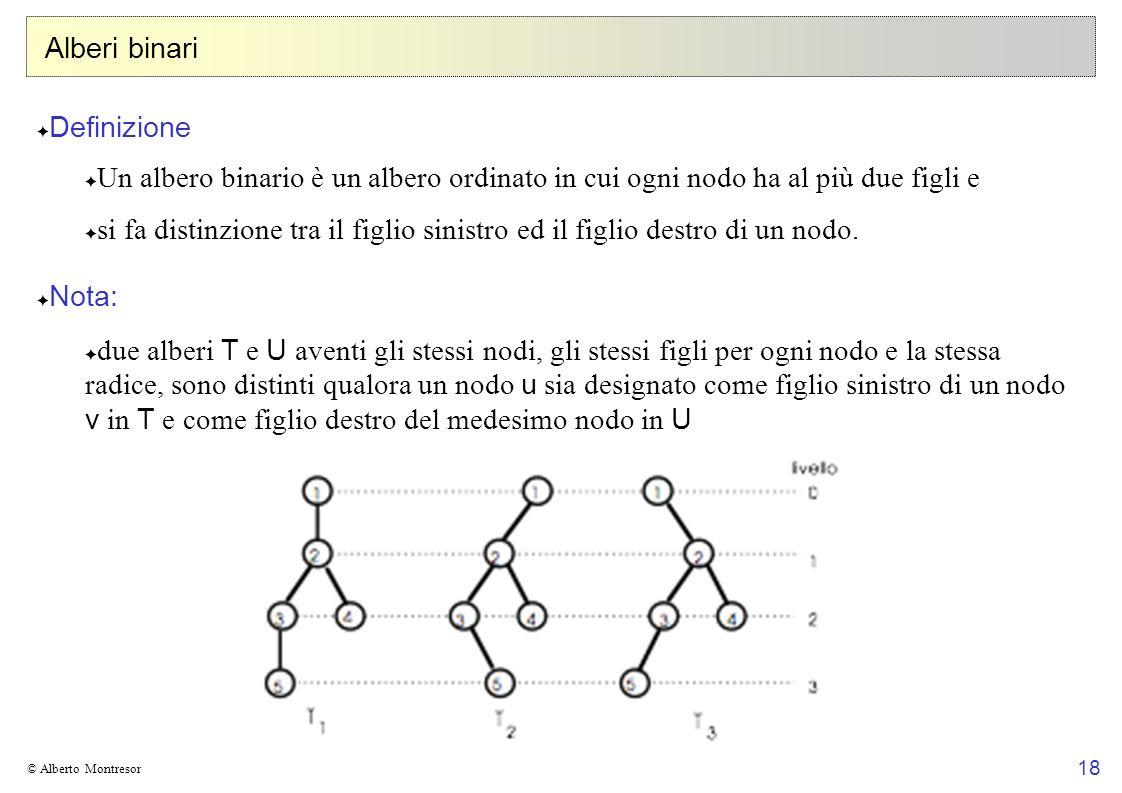 18 © Alberto Montresor Alberi binari Definizione Un albero binario è un albero ordinato in cui ogni nodo ha al più due figli e si fa distinzione tra i