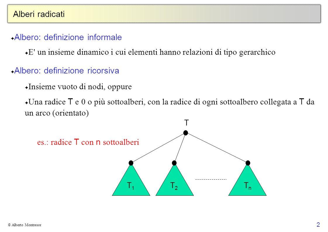 2 © Alberto Montresor Alberi radicati Albero: definizione informale E' un insieme dinamico i cui elementi hanno relazioni di tipo gerarchico Albero: d