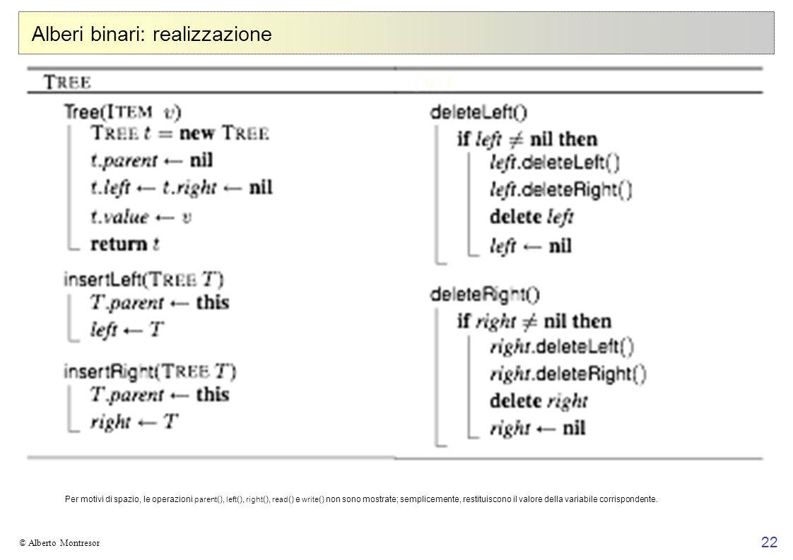 22 © Alberto Montresor Alberi binari: realizzazione Per motivi di spazio, le operazioni parent (), left (), right (), read () e write () non sono most