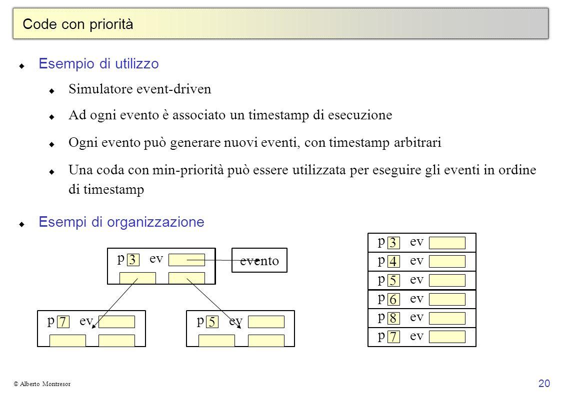 20 © Alberto Montresor Code con priorità Esempio di utilizzo Simulatore event-driven Ad ogni evento è associato un timestamp di esecuzione Ogni evento