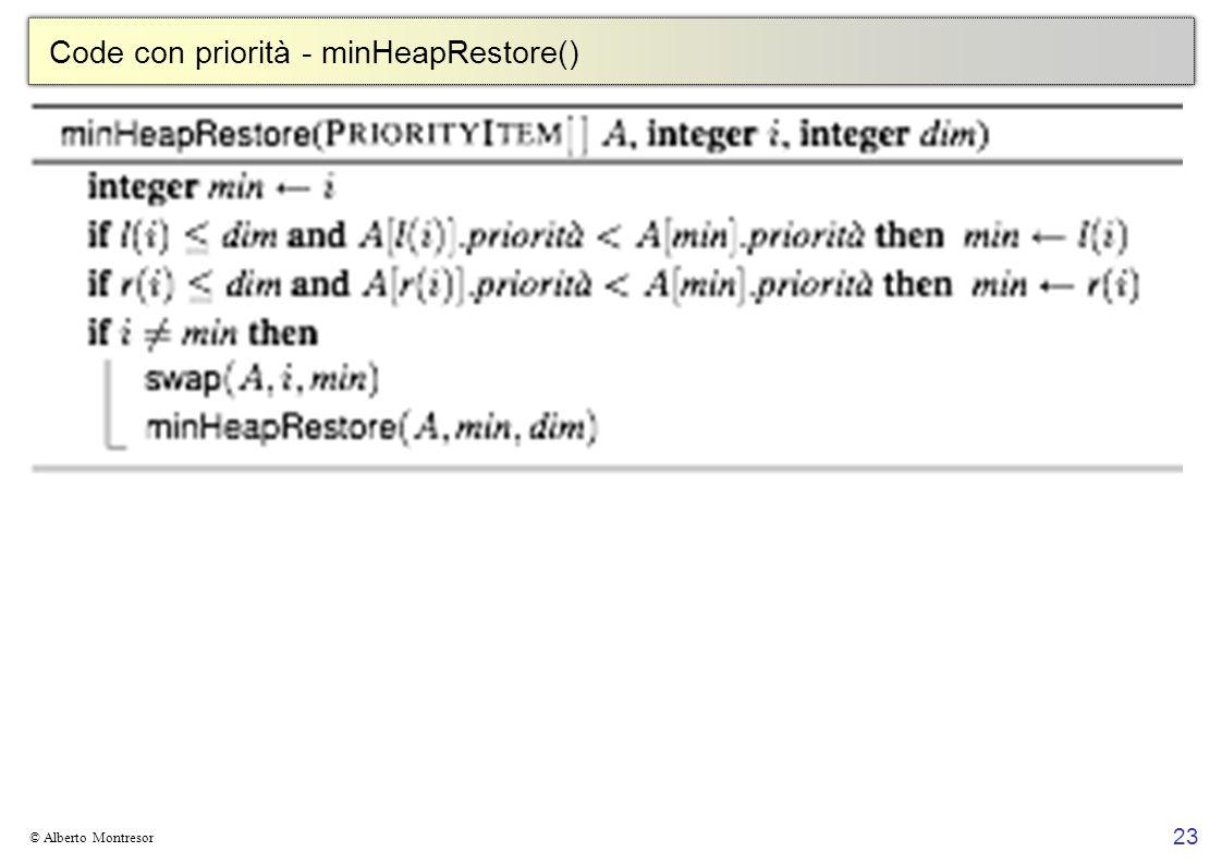 23 © Alberto Montresor Code con priorità - minHeapRestore()