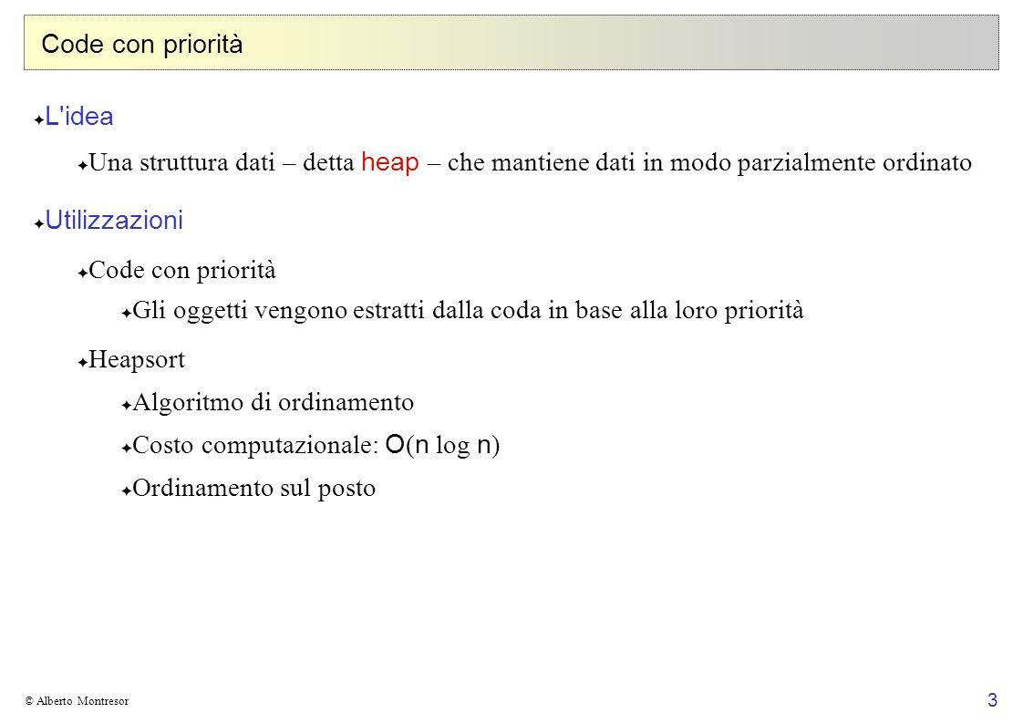 3 © Alberto Montresor Code con priorità L'idea Una struttura dati – detta heap – che mantiene dati in modo parzialmente ordinato Utilizzazioni Code co