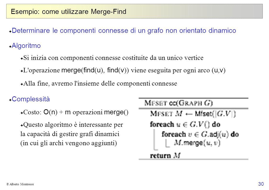 30 © Alberto Montresor Esempio: come utilizzare Merge-Find Determinare le componenti connesse di un grafo non orientato dinamico Algoritmo Si inizia c