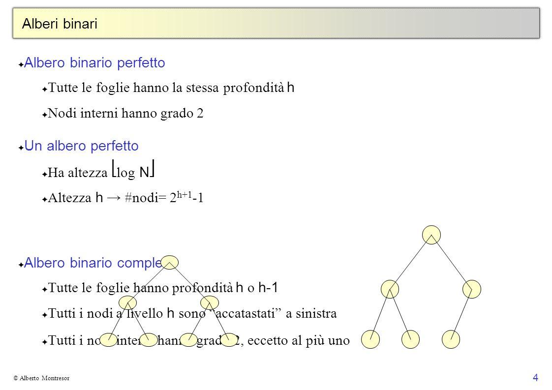 4 © Alberto Montresor Alberi binari Albero binario perfetto Tutte le foglie hanno la stessa profondità h Nodi interni hanno grado 2 Un albero perfetto
