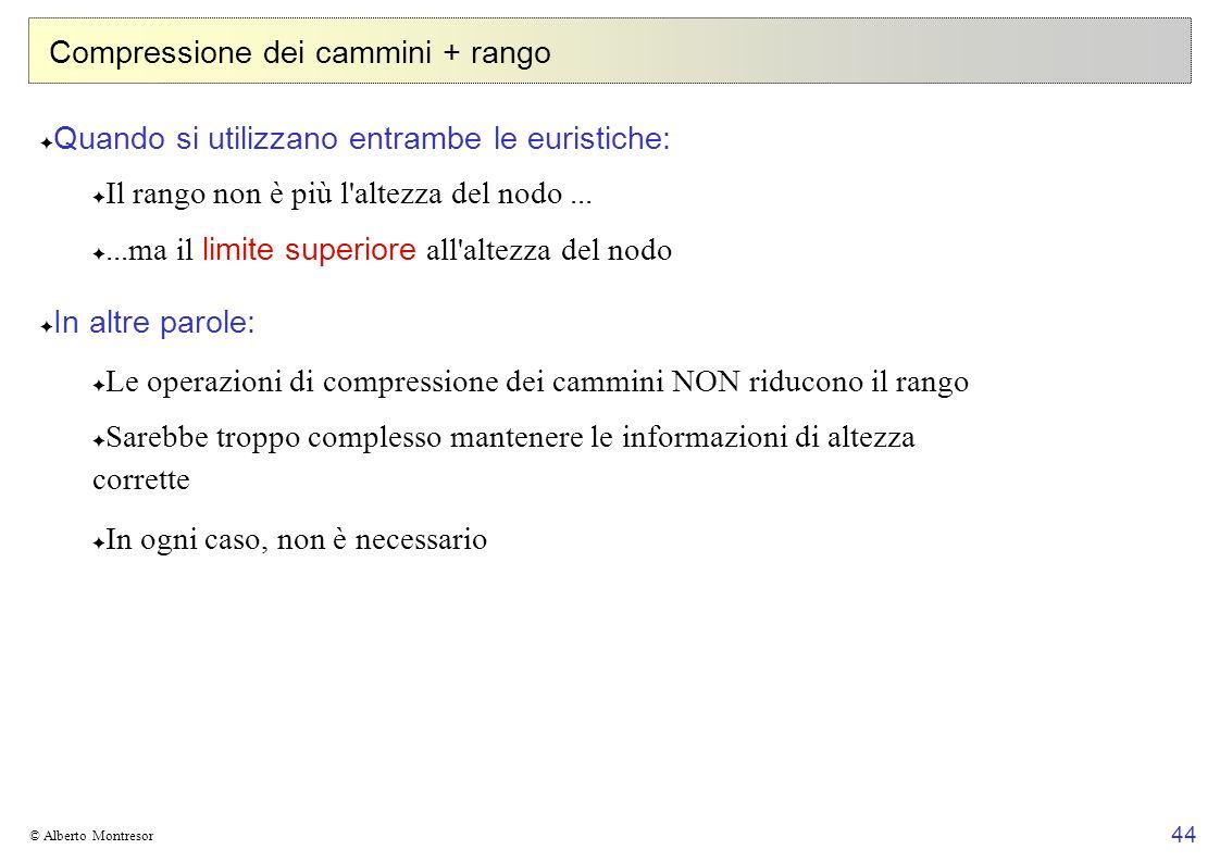 44 © Alberto Montresor Compressione dei cammini + rango Quando si utilizzano entrambe le euristiche: Il rango non è più l'altezza del nodo......ma il