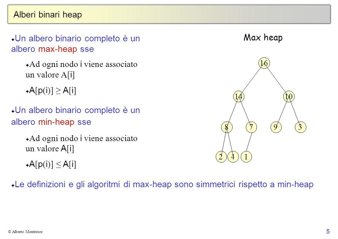 5 © Alberto Montresor Alberi binari heap Un albero binario completo è un albero max-heap sse Ad ogni nodo i viene associato un valore A[ i ] A [ p ( i
