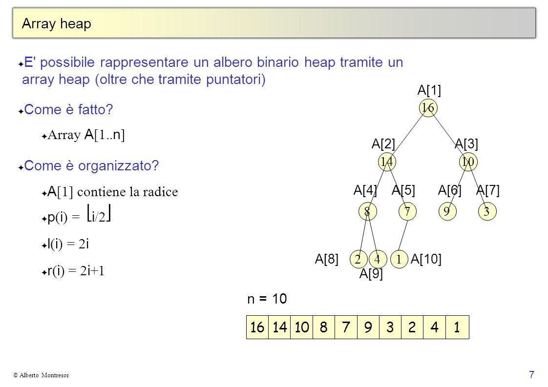 7 © Alberto Montresor Array heap E' possibile rappresentare un albero binario heap tramite un array heap (oltre che tramite puntatori) Come è fatto? A