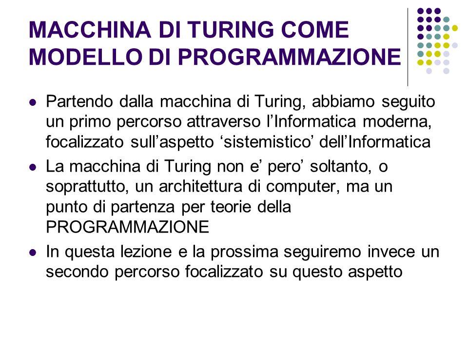 MACCHINA DI TURING COME MODELLO DI PROGRAMMAZIONE Partendo dalla macchina di Turing, abbiamo seguito un primo percorso attraverso lInformatica moderna