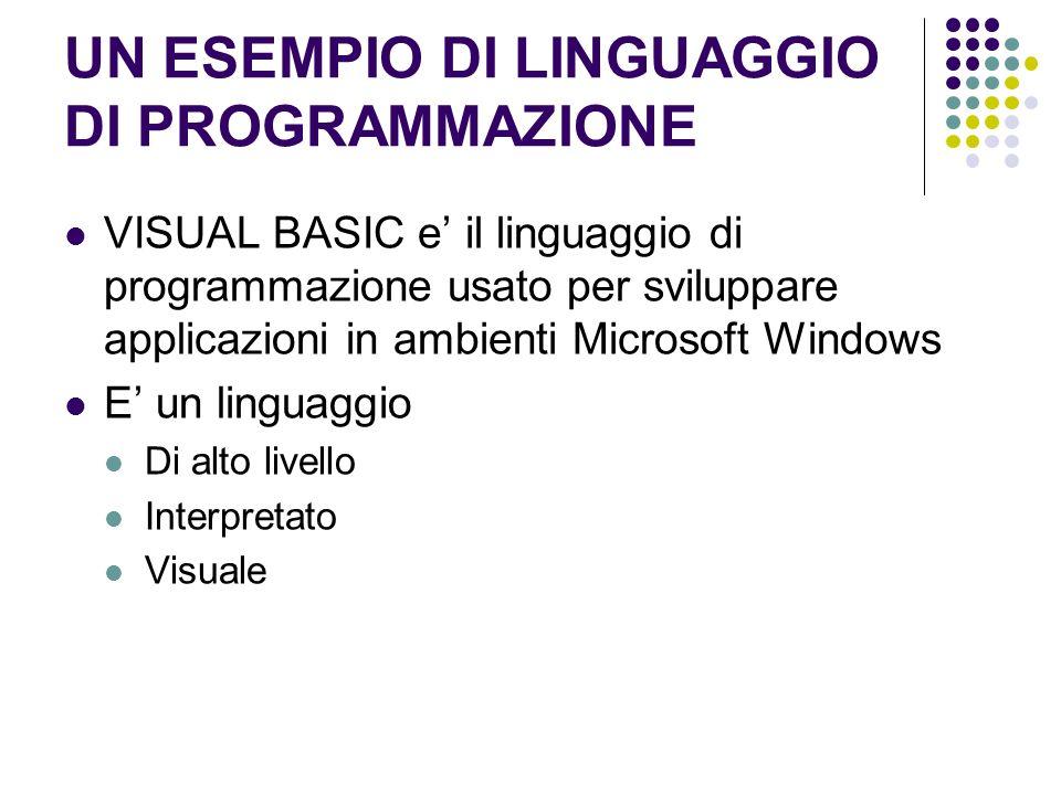 UN ESEMPIO DI LINGUAGGIO DI PROGRAMMAZIONE VISUAL BASIC e il linguaggio di programmazione usato per sviluppare applicazioni in ambienti Microsoft Wind