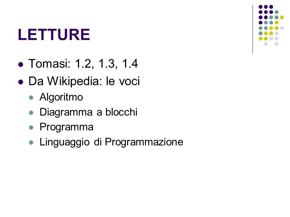 LETTURE Tomasi: 1.2, 1.3, 1.4 Da Wikipedia: le voci Algoritmo Diagramma a blocchi Programma Linguaggio di Programmazione