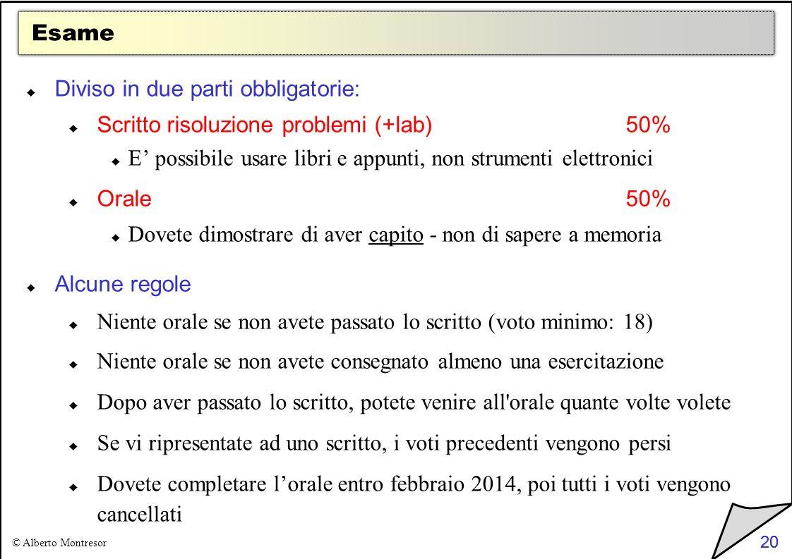 20 © Alberto Montresor 20 Esame Diviso in due parti obbligatorie: Scritto risoluzione problemi (+lab)50% E possibile usare libri e appunti, non strume