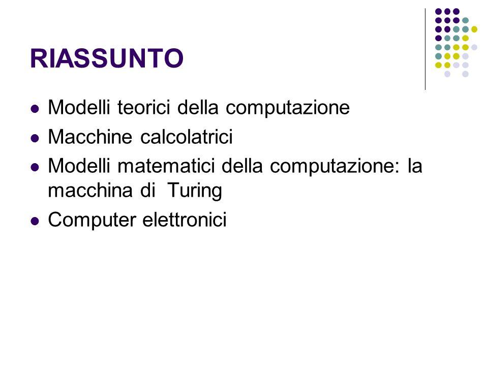 RIASSUNTO Modelli teorici della computazione Macchine calcolatrici Modelli matematici della computazione: la macchina di Turing Computer elettronici