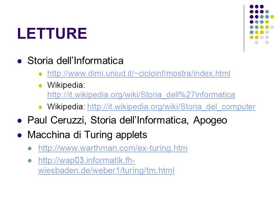 LETTURE Storia dellInformatica http://www.dimi.uniud.it/~cicloinf/mostra/index.html Wikipedia: http://it.wikipedia.org/wiki/Storia_dell%27informatica