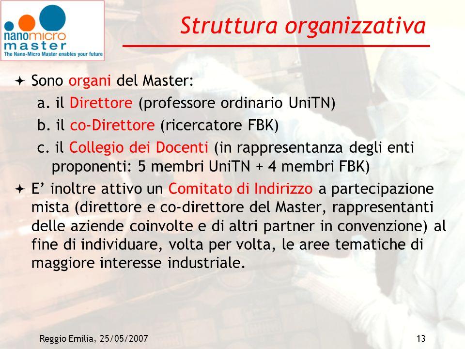 Reggio Emilia, 25/05/200713 Struttura organizzativa Sono organi del Master: a. il Direttore (professore ordinario UniTN) b. il co-Direttore (ricercato