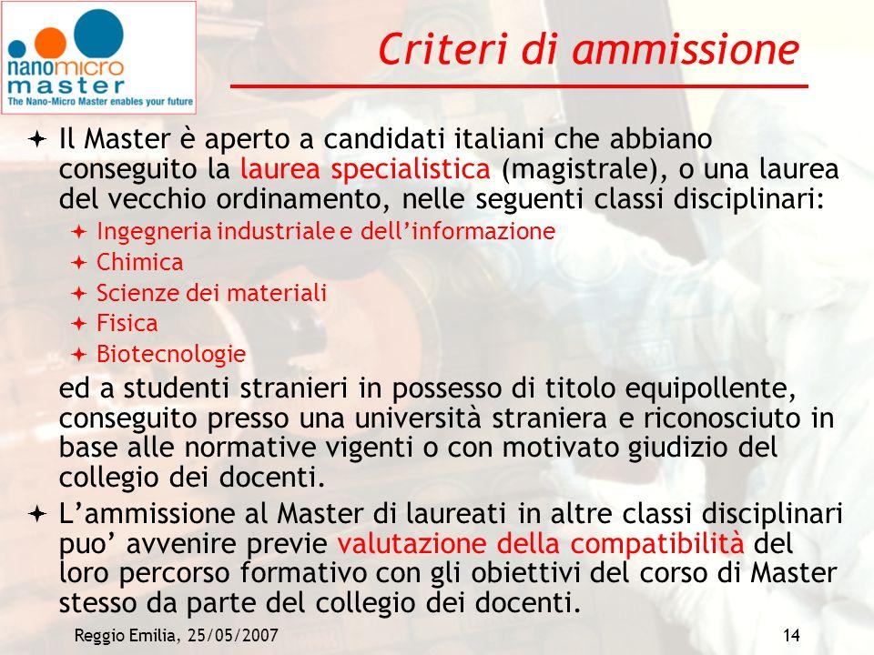 Reggio Emilia, 25/05/200714 Criteri di ammissione Il Master è aperto a candidati italiani che abbiano conseguito la laurea specialistica (magistrale),