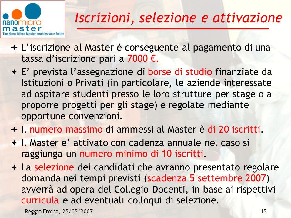 Reggio Emilia, 25/05/200715 Iscrizioni, selezione e attivazione Liscrizione al Master è conseguente al pagamento di una tassa discrizione pari a 7000.