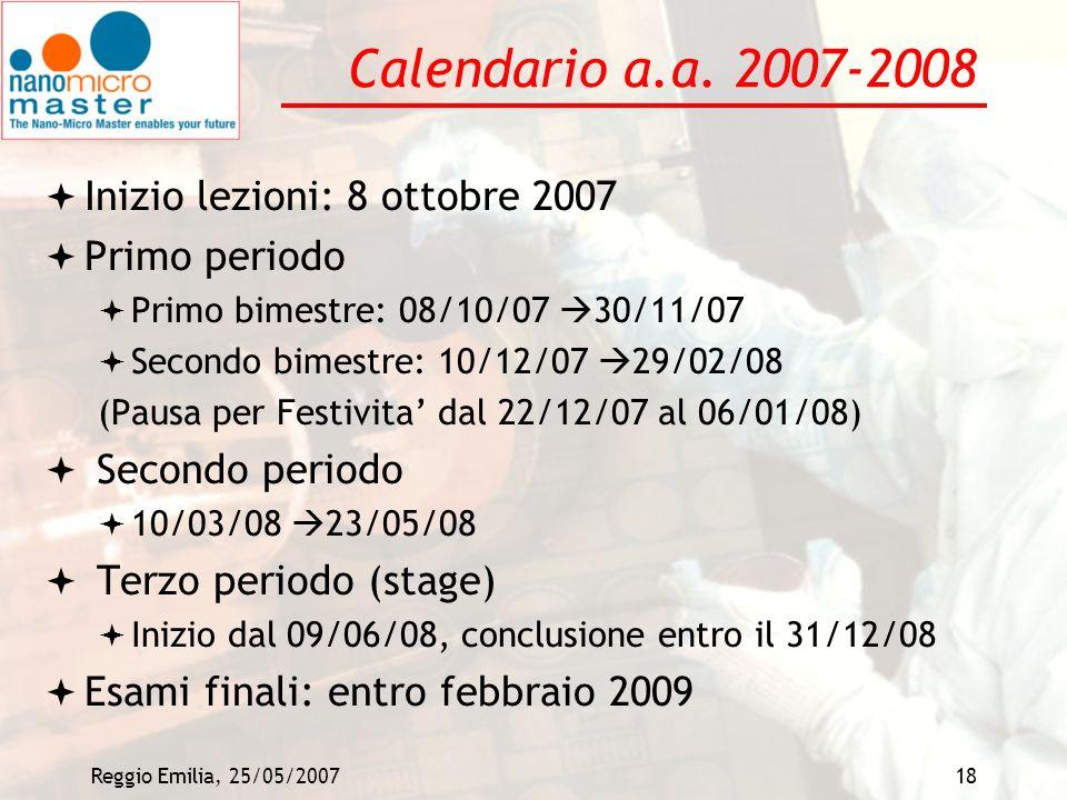 Reggio Emilia, 25/05/200718 Calendario a.a. 2007-2008 Inizio lezioni: 8 ottobre 2007 Primo periodo Primo bimestre: 08/10/07 30/11/07 Secondo bimestre: