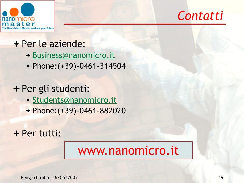 Reggio Emilia, 25/05/200719 Contatti Per le aziende: Business@nanomicro.it Phone:(+39)-0461-314504 Per gli studenti: Students@nanomicro.it Phone:(+39)