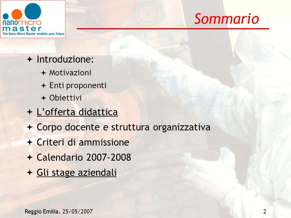 Reggio Emilia, 25/05/20072 Sommario Introduzione: Motivazioni Enti proponenti Obiettivi Lofferta didattica Corpo docente e struttura organizzativa Cri